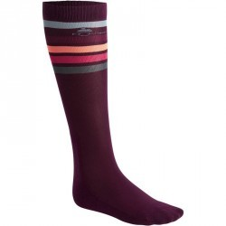Chaussettes équitation adulte BASIC prune rayures rose X 1 paire
