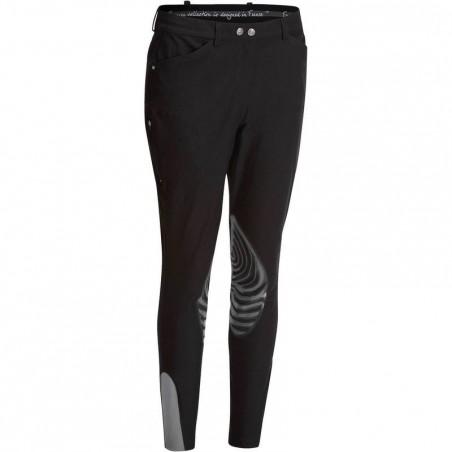 Pantalon équitation femme PADDOCK GRIPPY noir et gris