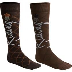 Chaussettes équitation adulte légères HORSERIDING marron et chocolat X 2 paires