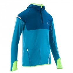 maillot manches longues chaud athlétisme enfant  kiprun bleu