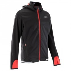 veste athlétisme enfant kiprun warm noir rouge