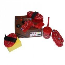 Kit de pansage 7 brosses ETOILE rouge