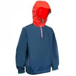 Vareuse coupe-vent dériveur/catamaran enfant 100 bleu foncé/rouge corail