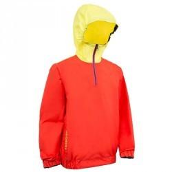 Vareuse coupe-vent dériveur/catamaran enfant 100 rouge corail/jaune