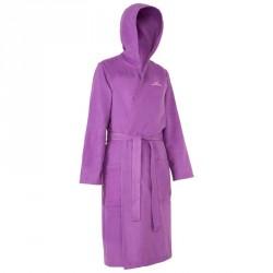 Peignoir microfibre natation femme violet avec capuche, poches et ceinture