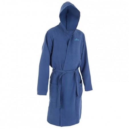 Peignoir microfibre natation bleu foncé avec capuche, poches  et ceinture