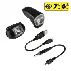 SET ECLAIRAGE VELO LED  VIOO 300 USB NOIR