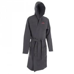 Peignoir microfibre natation gris foncé avec capuche, poches et ceinture