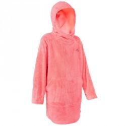 Hoodie de natation en microfibre douce modèle junior rose avec capuche