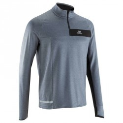 TEE SHIRT MANCHES LONGUES RUNNING HOMME RUN WARM+ GRIS