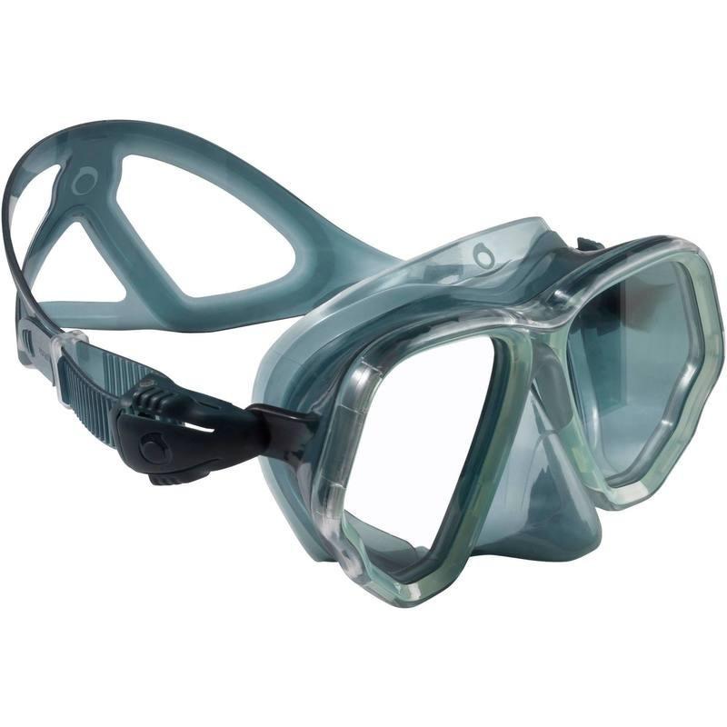 Masque de plongée bouteille SCD 500 jupe verte translucide et cerclage atoll