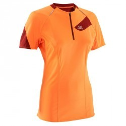 Tee shirt manches courtes trail running femme orange bordeaux