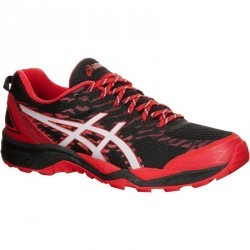 chaussure trail running homme ASICS GEL FUJI TRABUCO 5 noir rouge