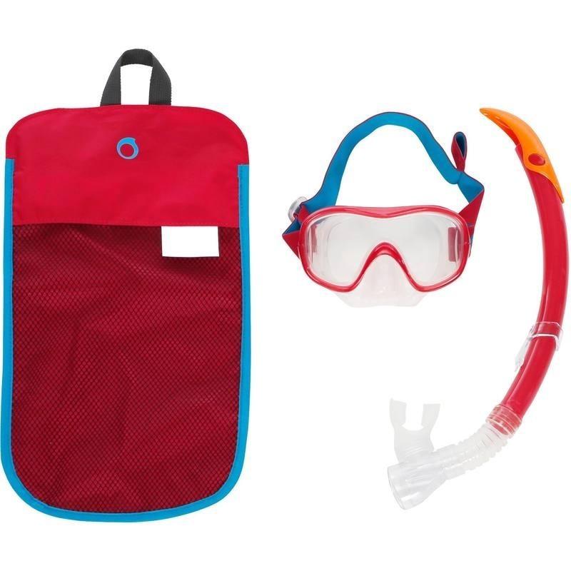 Kit masque tuba de snorkeling 520 Adulte rouge turquoise
