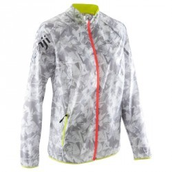 Veste coupe-vent trail running femme gris clair jaune