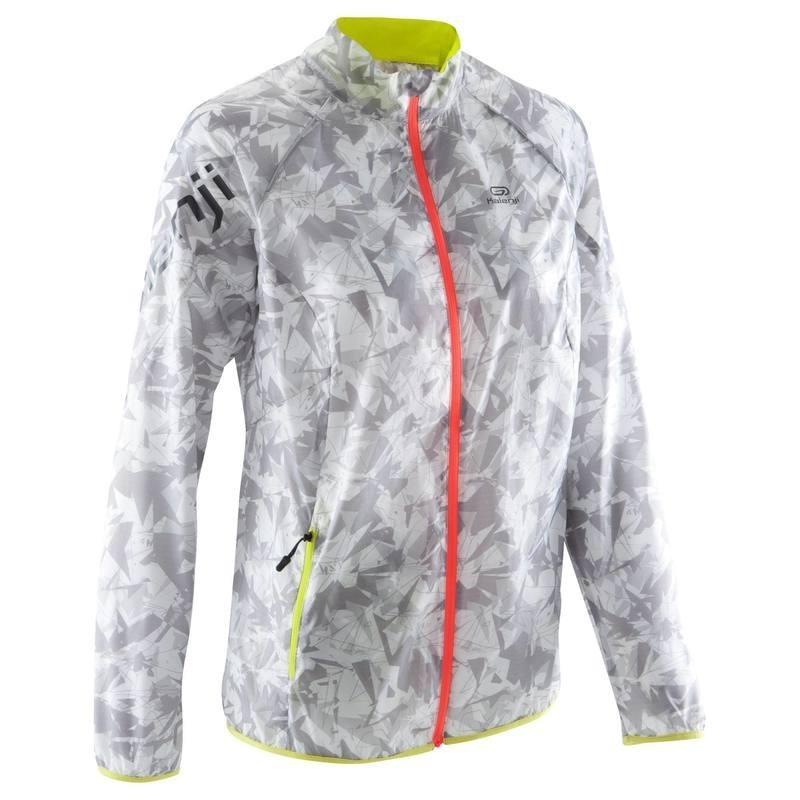 Veste coupe vent trail running femme gris clair jaune avis test