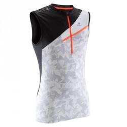 Tee shirt sans manche homme trail running blanc gris clair