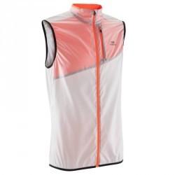 Veste sans manche coupe vent trail running homme gris clair orange