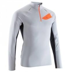 Tee shirt manches longues trail running homme gris clair orange