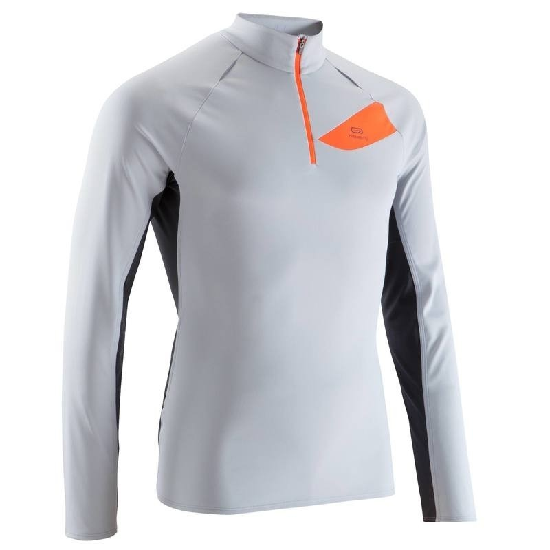 good selling cheapest price size 7 Tee shirt manches longues trail running homme gris clair orange - avis /  test
