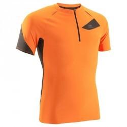 Tee shirt manches courtes trail running homme orange noir