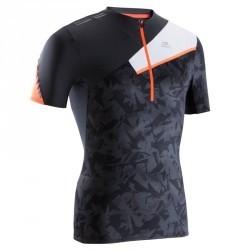 Tee shirt manches courtes trail running homme gris foncé blanc
