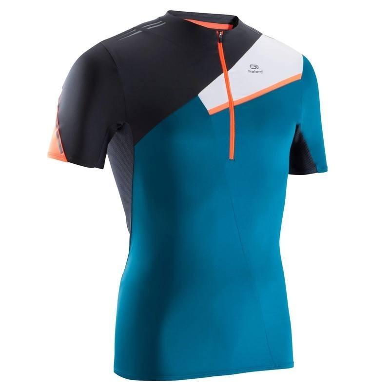 avis test tee shirt manches courtes perf trail running homme bleu noir kalenji prix. Black Bedroom Furniture Sets. Home Design Ideas