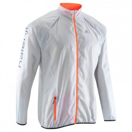 Veste coupe-vent trail running homme gris orange