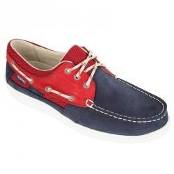 Chaussures bateau cuir homme CLIPPER bleu/rouge