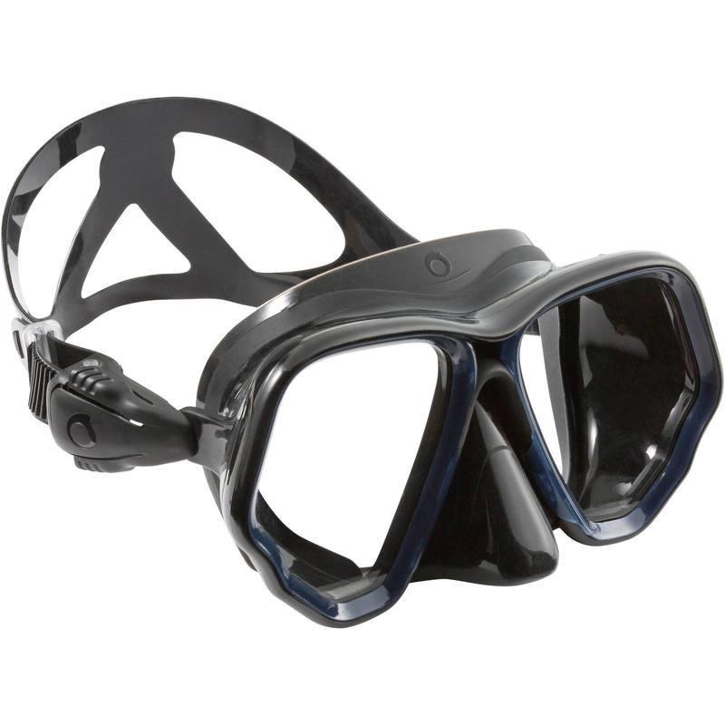 Masque de plongée bouteille SCD 500 jupe noire et cerclage bleu