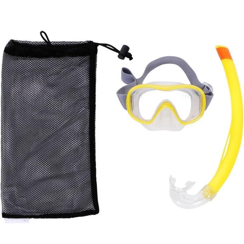 Kit masque tuba de snorkeling 500 jaune