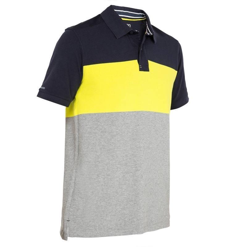 Polo bateau 100 homme gris/jaune