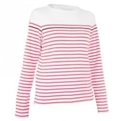 T-Shirt manches longues bateau 100 femme blanc/bordeaux