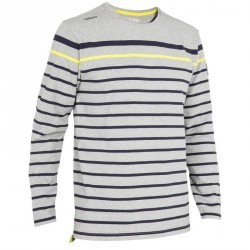T-Shirt manches longues bateau 100 homme gris