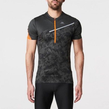 Tee shirt manches courtes perf trail running homme gris foncé orange