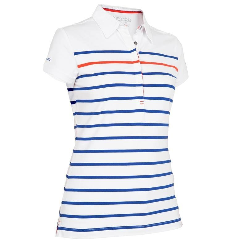 Polo bateau 100 femme rayé blanc/bleu