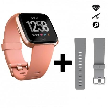 Pack avec montre connectée cardio au poignet Versa pêche + bracelet gris