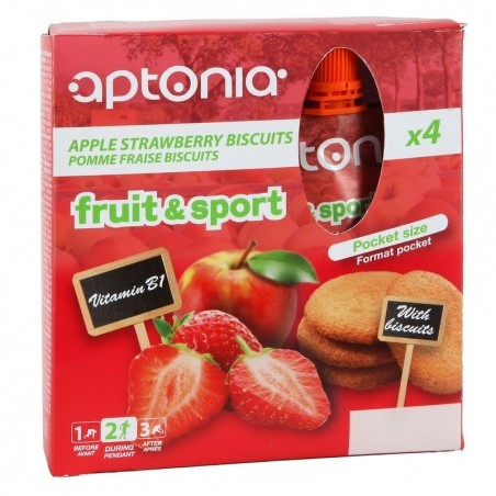Compote FRUIT&SPORT fraise biscuit 4x90g