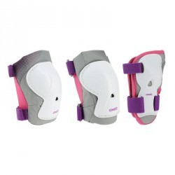 Set 3 protections roller skate trottinette enfant PLAY violet