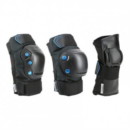 Set 3 protections roller skateboard trottinette adulte FIT 5 noir bleu