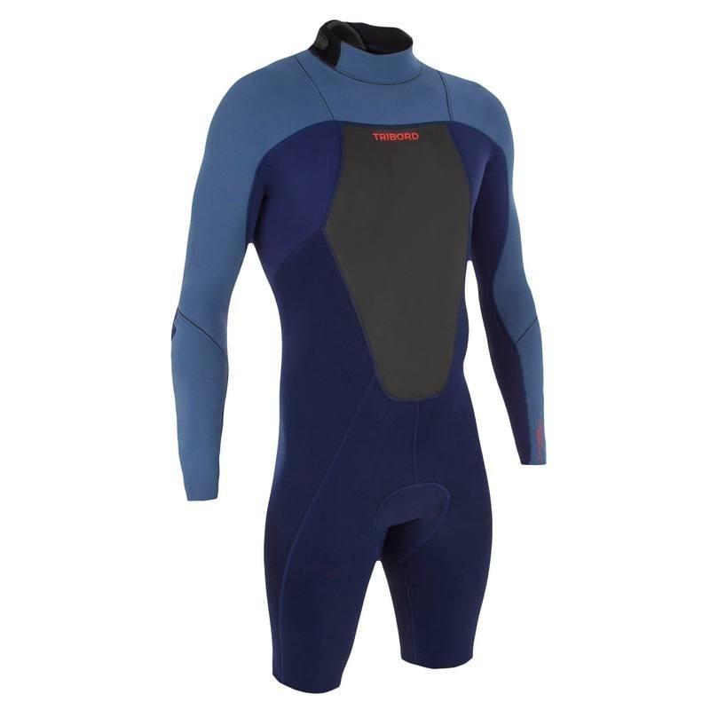 Combinaison Surf Shorty 500 Néoprène Manches Longues Homme Bleu
