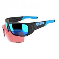 Lunettes de ski adulte SKIING 900 noires & bleues verres interchangeables cat4+2