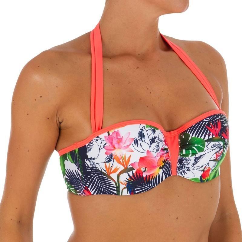 Haut de maillot de bain bandeau femme armatures lien cou amovible LEA AMAZONIA
