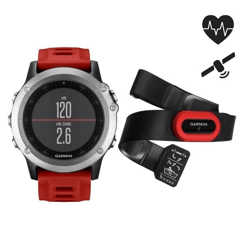 Montre GPS multisports avec ceinture cardio Fenix 3 HRM rouge silver