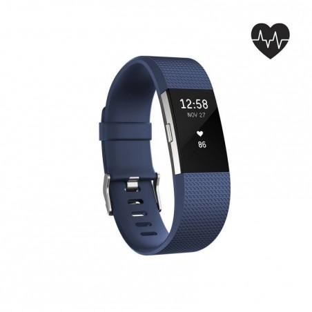 Bracelet d'activité Charge 2 cardio au poignet bleu (taille L)