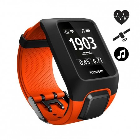 Montre de sport GPS Adventurer cardio + music au poignet orange/noire (taille L)
