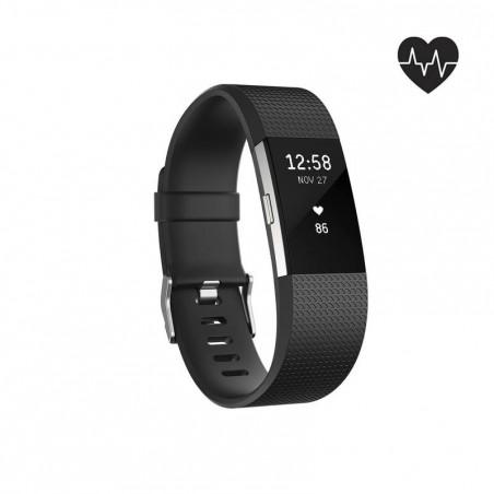 Bracelet d'activité Charge 2 cardio au poignet noir (taille S)
