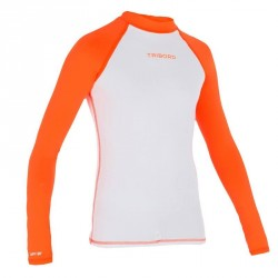 Tee shirt anti UV surf Top 100 manches longues Enfant Blanc orange