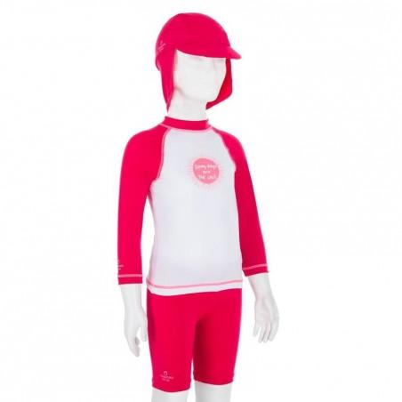 KIT casquette corsaire tee shirt anti UV surf Bébé rose