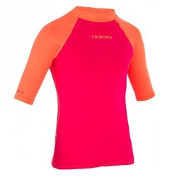 tee shirt anti UV surf top 100 manches courtes enfant rose